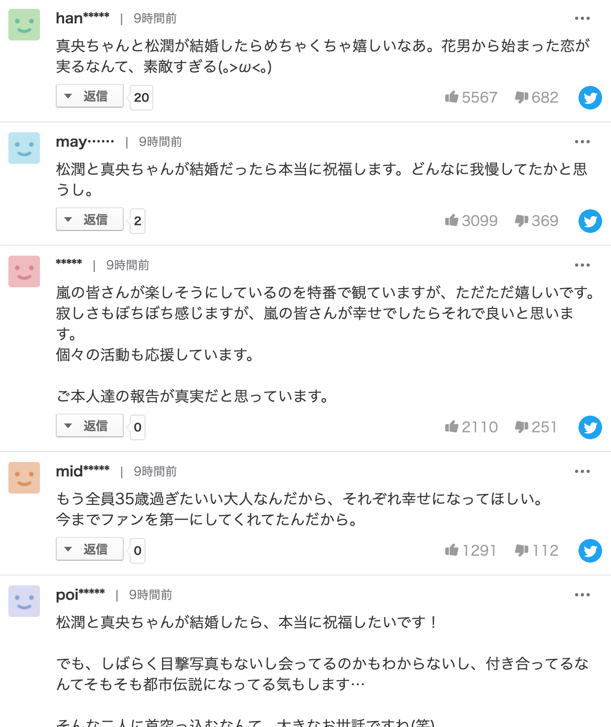 松本潤と井上真央の結婚祝福コメント